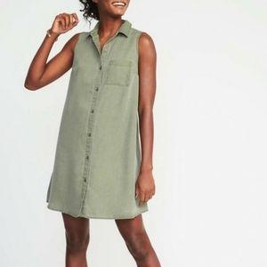 XXL Old Navy Olive Green Chambray Shirt Dress